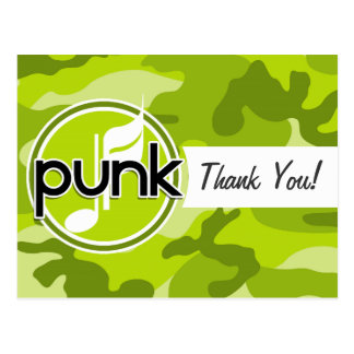 Punk; bright green camo, camouflage post cards