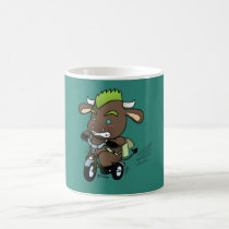 Punk Bull Riding a Bike (Back to School) Magic Mug