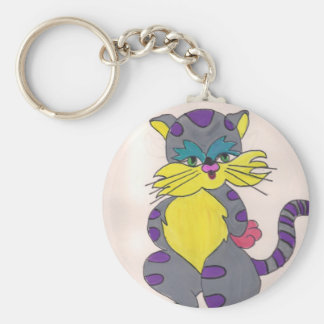 Punk Cat Basic Round Button Keychain
