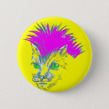 Halloween Themed punk cat button badge (pink and Yellow)