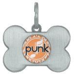 Punk; Chevron anaranjado y blanco Placa De Nombre De Mascota