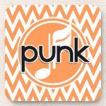 Punk; Chevron anaranjado y blanco Posavasos De Bebida