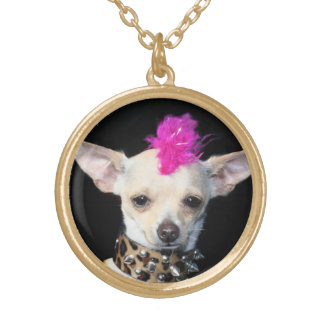 Punk Chihuahua gold finish necklace