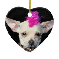 Punk Chihuahua heart ornament