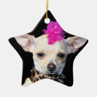 Punk Chihuahua star ornament