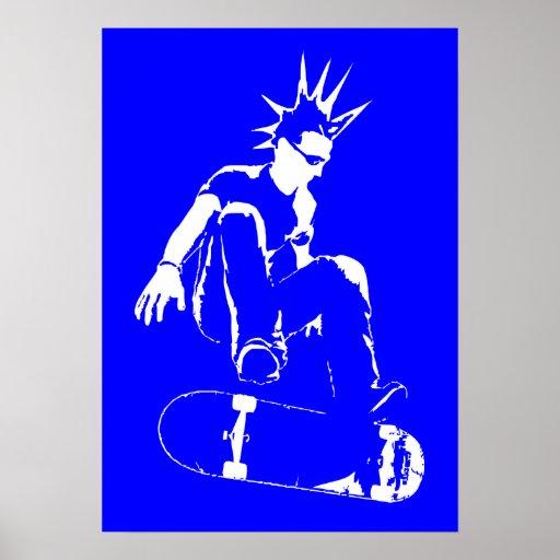 punk del monopatín póster