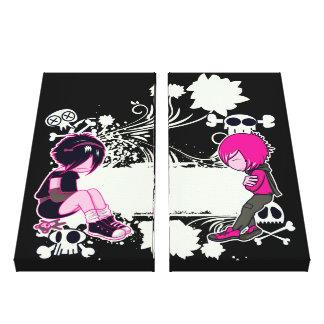 punk emo kids sulking vector art canvas print