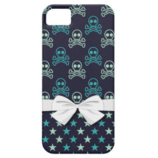 punk emo skull crossbones and stars with faux bow iPhone 5 cover