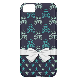 punk emo skull crossbones and stars with faux bow iPhone 5C covers