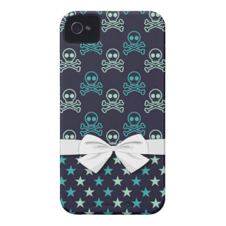 punk emo skull crossbones and stars with faux bow Case-Mate iPhone 4 case