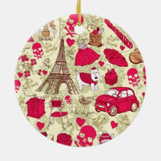 Punk en modelo francés peculiar de los iconos de adorno navideño redondo de cerámica