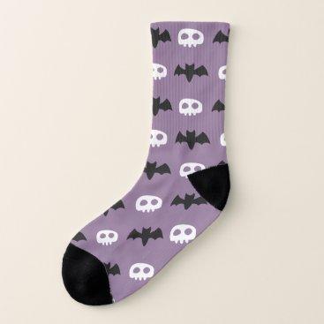 Halloween Themed Punk Fashion Skull and Bat Icon Pattern Socks