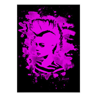 Punk Girl - bleached pink Poster