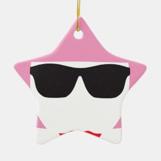 Punk Girl Pink Hair Glasses Ceramic Ornament