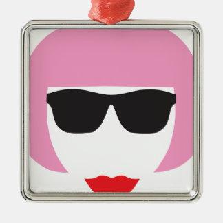 Punk Girl Pink Hair Glasses Metal Ornament