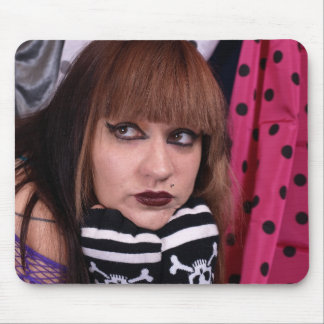 Punk Girl with Skulls Mouse Pad