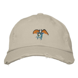Punk Goth Winged Eyeball Embroidered Hat