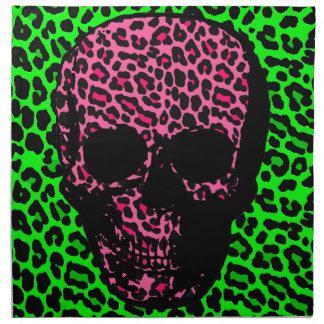 Punk Gothic Skull  Pink green Leopard print Napkin