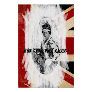 Punk grunge de God Save the Queen Posters