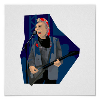 punk guitar player male blue red.png posters