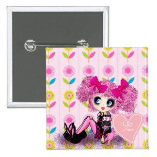 Punk Harajuku girl so kawaii cute and girly 2 Inch Square Button