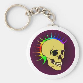 Punk head skull skull keychain