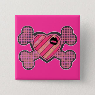 Punk Heart and Crossbones Pinback Button