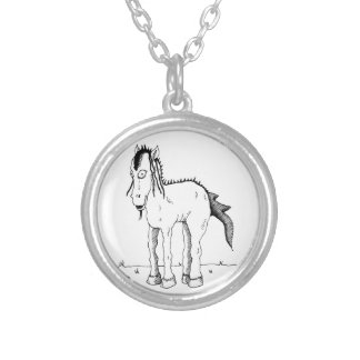 Punk horse creature silver plated necklace