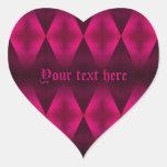 Punk hot pink diamond pattern heart heart sticker