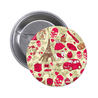 Punk In Paris Quirky French Icons pattern 2 Inch Round Button