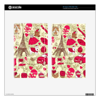 Punk In Paris Quirky French Icons pattern Kindle Fire Decals