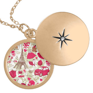 Punk In Paris Quirky French Icons pattern Locket Necklace