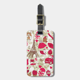 Punk In Paris Quirky French Icons pattern Luggage Tag