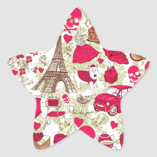 Punk In Paris Quirky French Icons pattern Star Sticker