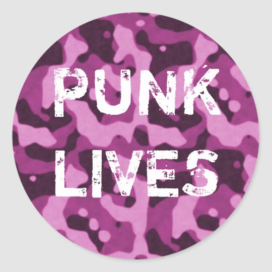 Punk Lives Pink Camo Sticker