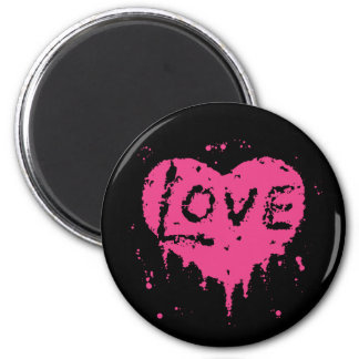 Punk love heat black and hot pink 2 inch round magnet