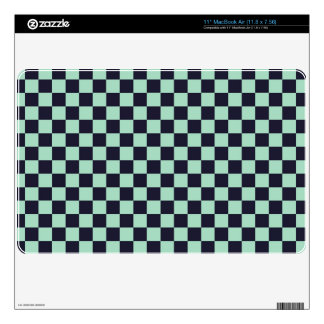 punk mint green and black checkered pattern MacBook air decal