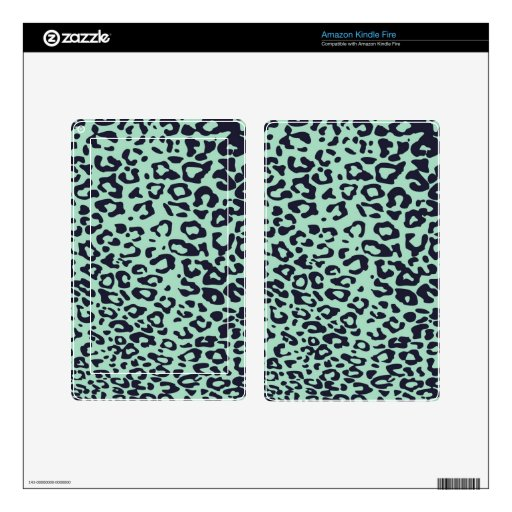 punk mint green and black cheetah pattern skin for kindle fire