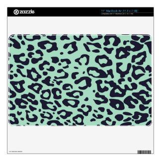 punk mint green and black cheetah pattern skins for MacBook air