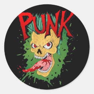 Punk Mohawk Skulled Rocker Classic Round Sticker