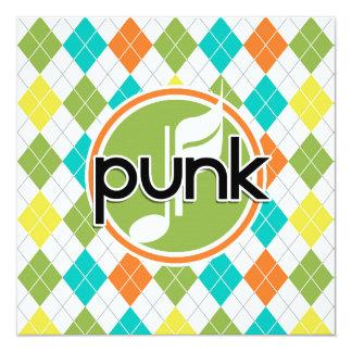Punk Music; Colorful Argyle Pattern 5.25x5.25 Square Paper Invitation Card