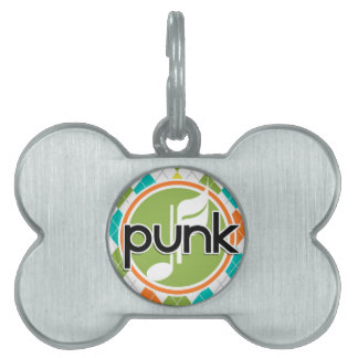 Punk Music; Colorful Argyle Pattern Pet Tag