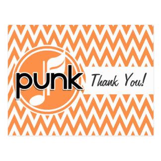 Punk; Orange and White Chevron Postcard