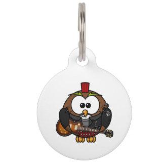 Punk Owl With Guitar Pet Nametag