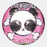 punk panda classic round sticker