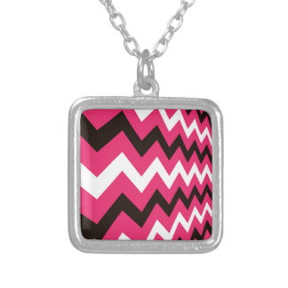 Punk Pink Chevron Mix Square Pendant Necklace