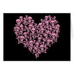 Punk Pink Skull Heart Card