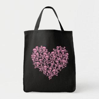 Punk Pink Skull Heart Tote Bag