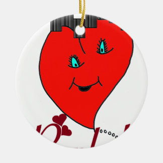 PUNK.png HEART Double-Sided Ceramic Round Christmas Ornament