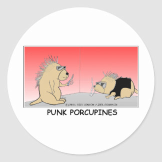 Punk Porcupines Funny Gifts Tees & Collectibles Classic Round Sticker